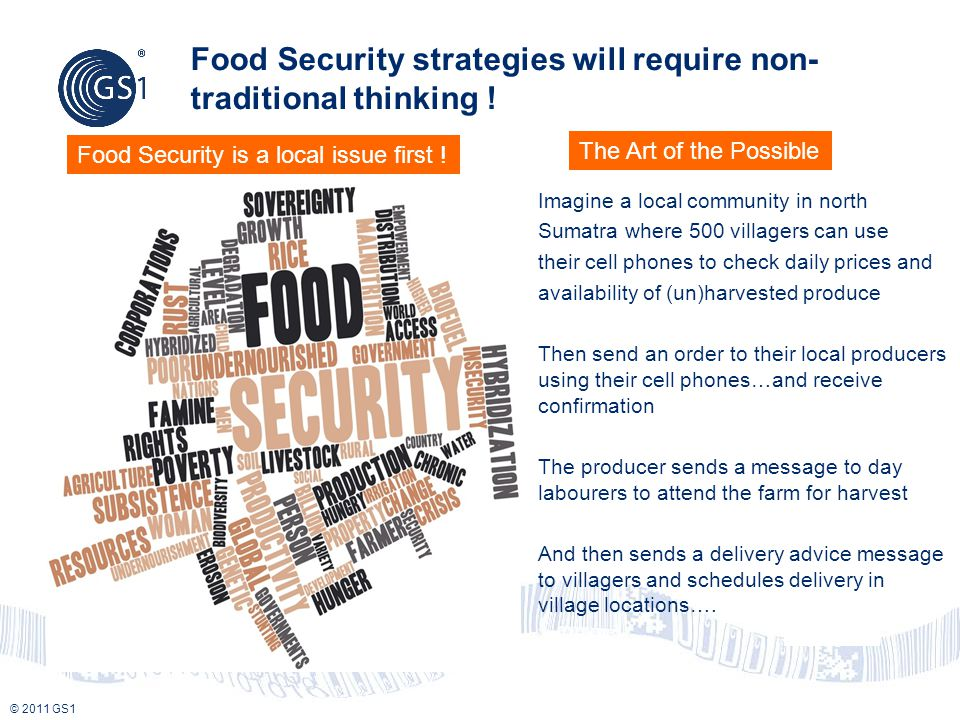 © 2011 GS1 Food Security strategies will require non- traditional thinking .