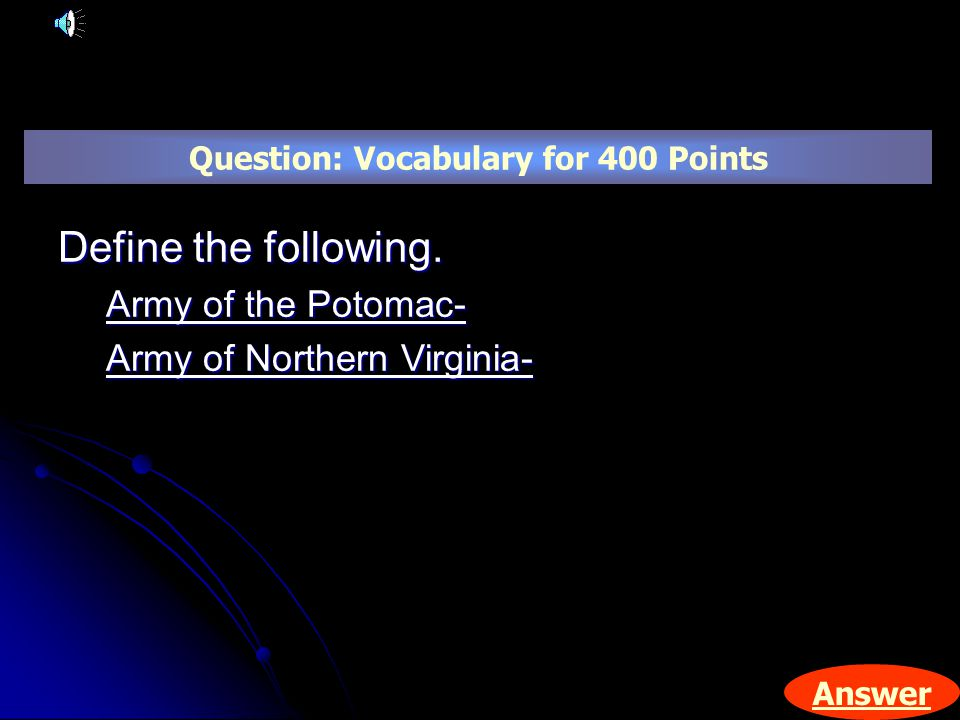 Answer Question: Vocabulary for 400 Points Define the following.
