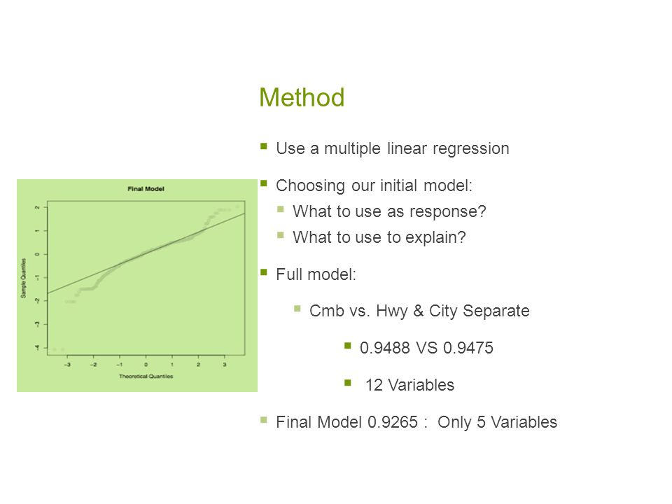 Method  Use a multiple linear regression  Choosing our initial model:  What to use as response.