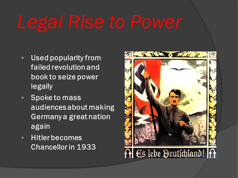 """Mein Kampf  Hitler's book """"My Struggle"""" - wrote while in jail  Sold 5 million copies, made him rich  Topics included: Jews were evil, Germans were"""