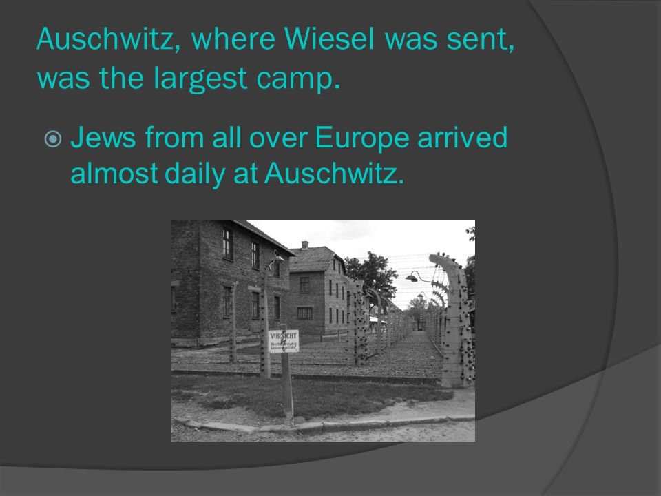 Wiesel's story begins in Romania (now Hungary) in 1941 and ends in 1944. When Germans took over this area, local Jews were persecuted.  They were for