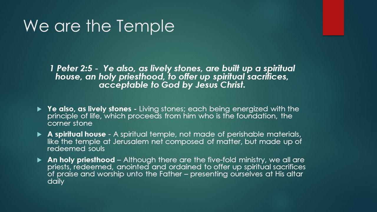 We are the Temple 1 Peter 2:5 - Ye also, as lively stones, are built up a spiritual house, an holy priesthood, to offer up spiritual sacrifices, acceptable to God by Jesus Christ.