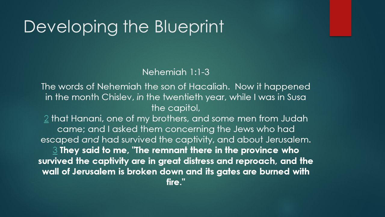 Developing the Blueprint Nehemiah 1:1-3 The words of Nehemiah the son of Hacaliah.