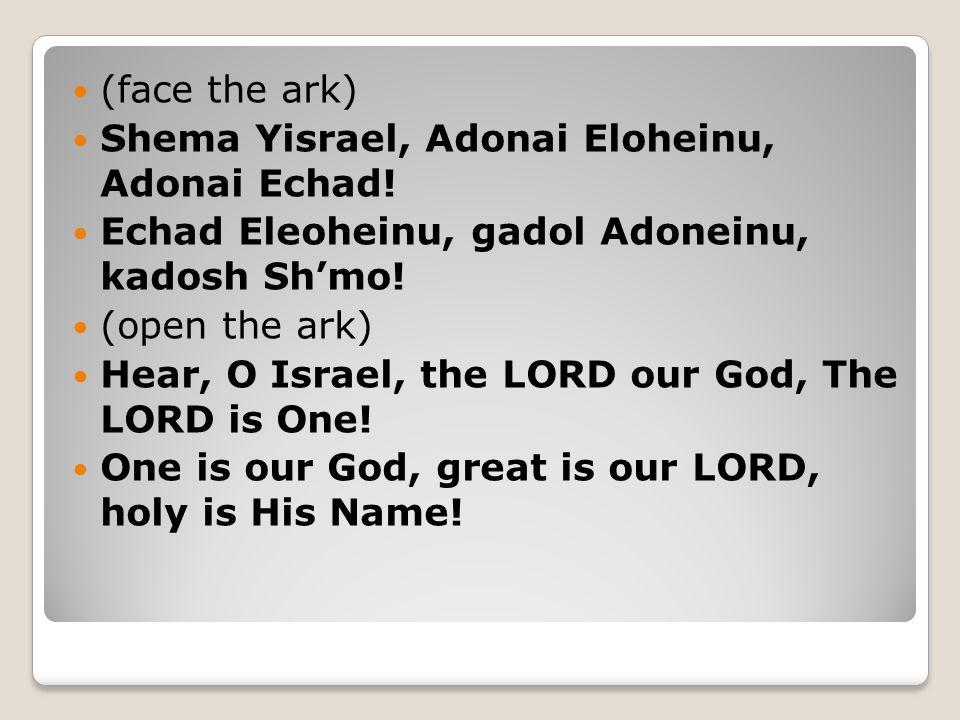 (face the ark) Shema Yisrael, Adonai Eloheinu, Adonai Echad! Echad Eleoheinu, gadol Adoneinu, kadosh Sh'mo! (open the ark) Hear, O Israel, the LORD ou