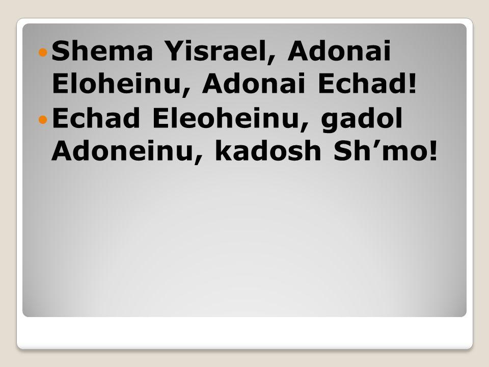 Shema Yisrael, Adonai Eloheinu, Adonai Echad! Echad Eleoheinu, gadol Adoneinu, kadosh Sh'mo!