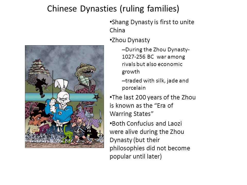 "Zhou Dynasty 1028 BCE - 221 BCE – Beat the Shang Dynasty claiming the Zhou had heaven's approval to rule China; the ""Mandate of Heaven"" – Nobles owned"
