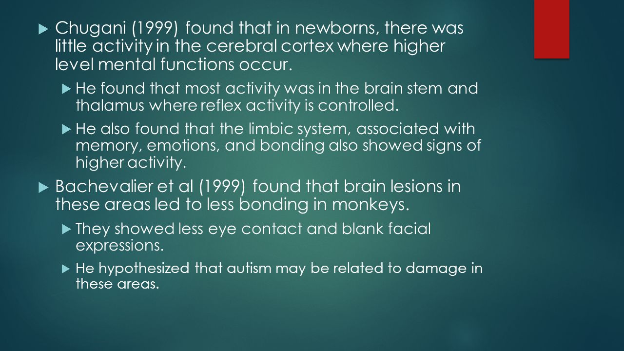 Chugani's research showed that from 6 to 9 months, the frontal lobes and the prefrontal cortex began to show much more activity.