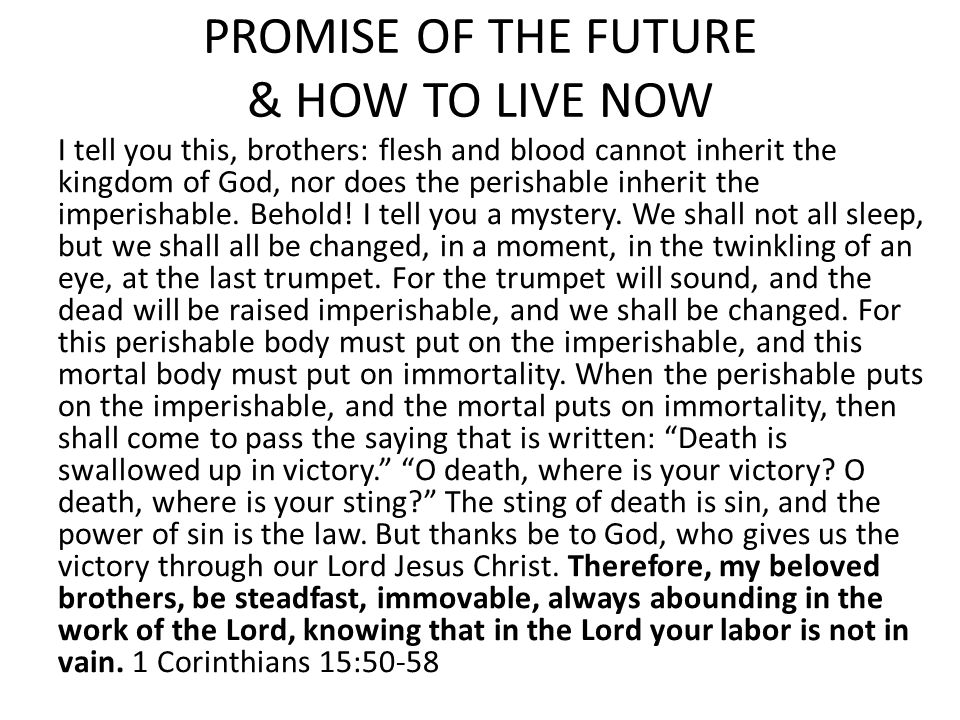 PROMISE OF THE FUTURE & HOW TO LIVE NOW I tell you this, brothers: flesh and blood cannot inherit the kingdom of God, nor does the perishable inherit the imperishable.