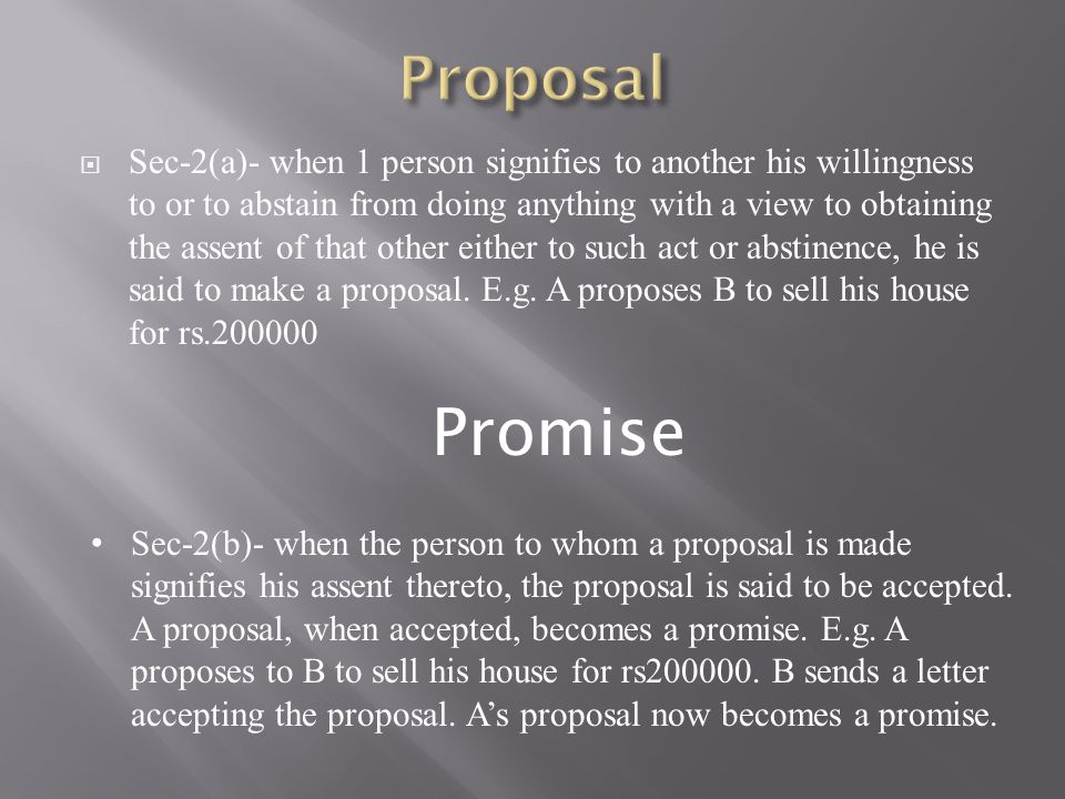  Sec-2(c)- the person making the proposal is called the 'promisor' and the person accepting the proposal is called 'promisee'.
