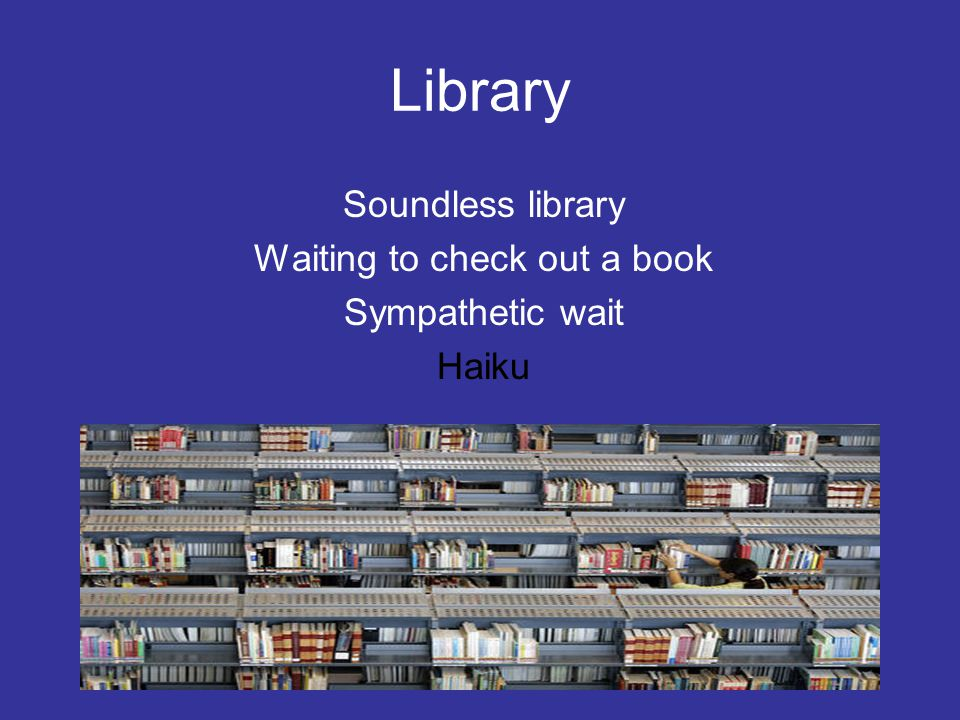 Library Soundless library Waiting to check out a book Sympathetic wait Haiku