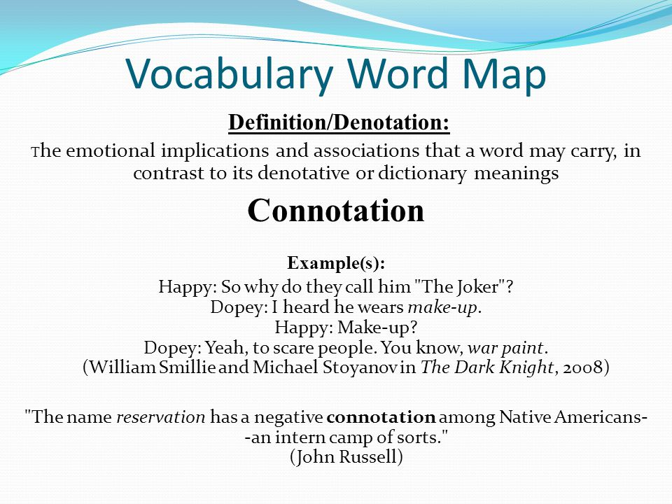 Vocabulary Word Map Definition/Denotation: T he emotional implications and associations that a word may carry, in contrast to its denotative or dictio