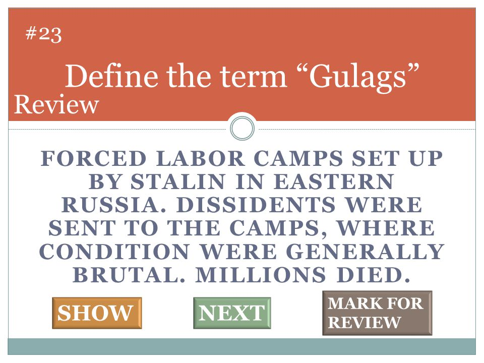 FORCED LABOR CAMPS SET UP BY STALIN IN EASTERN RUSSIA. DISSIDENTS WERE SENT TO THE CAMPS, WHERE CONDITION WERE GENERALLY BRUTAL. MILLIONS DIED. Define