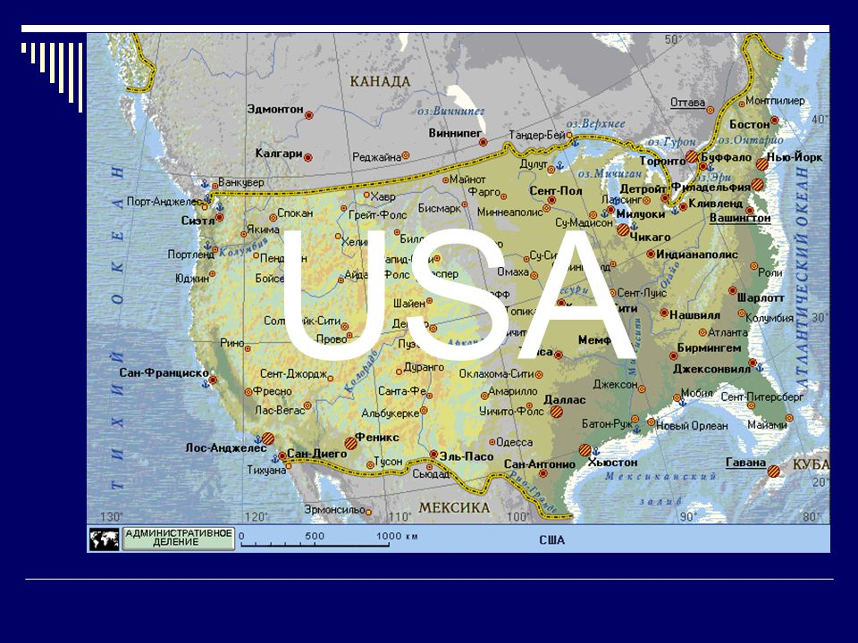 The geographical map of the USA USA