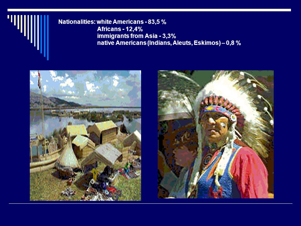 Nationalities: white Americans - 83,5 % Africans - 12,4% immigrants from Asia - 3,3% native Americans (Indians, Aleuts, Eskimos) – 0,8 %