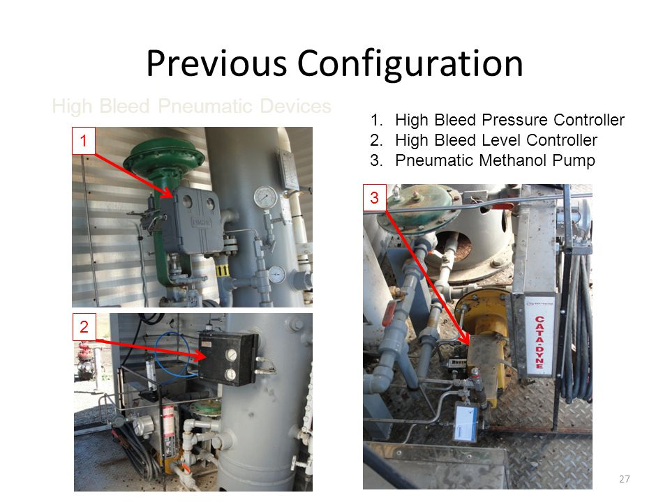 Previous Configuration 27 1.High Bleed Pressure Controller 2.High Bleed Level Controller 3.Pneumatic Methanol Pump 1 3 2 High Bleed Pneumatic Devices