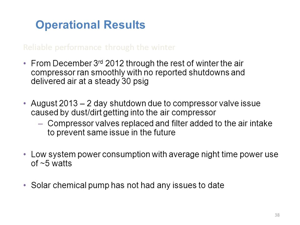 Operational Results From December 3 rd 2012 through the rest of winter the air compressor ran smoothly with no reported shutdowns and delivered air at