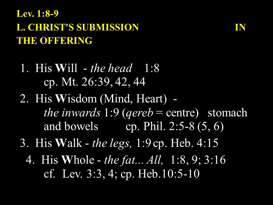 Lev.1:8-9 L. CHRIST S SUBMISSION IN THE OFFERING 1.