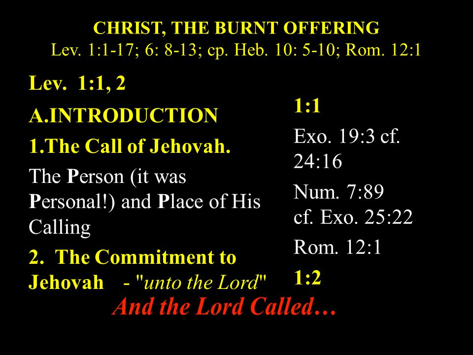 CHRIST, THE BURNT OFFERING Lev.1:1-17; 6: 8-13; cp.