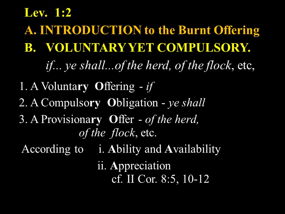 Lev.1:2 A.INTRODUCTION to the Burnt Offering B. VOLUNTARY YET COMPULSORY.