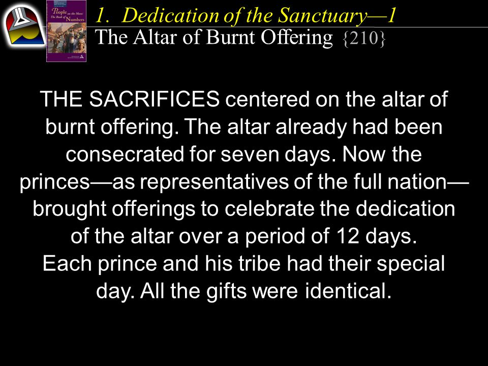 1.Dedication of the Sanctuary—1 The Altar of Burnt Offering {210} THE SACRIFICES centered on the altar of burnt offering. The altar already had been c