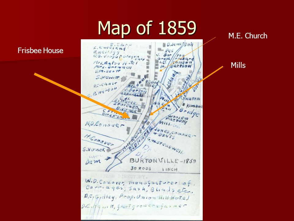Map of 1859 Mills Frisbee House M.E. Church