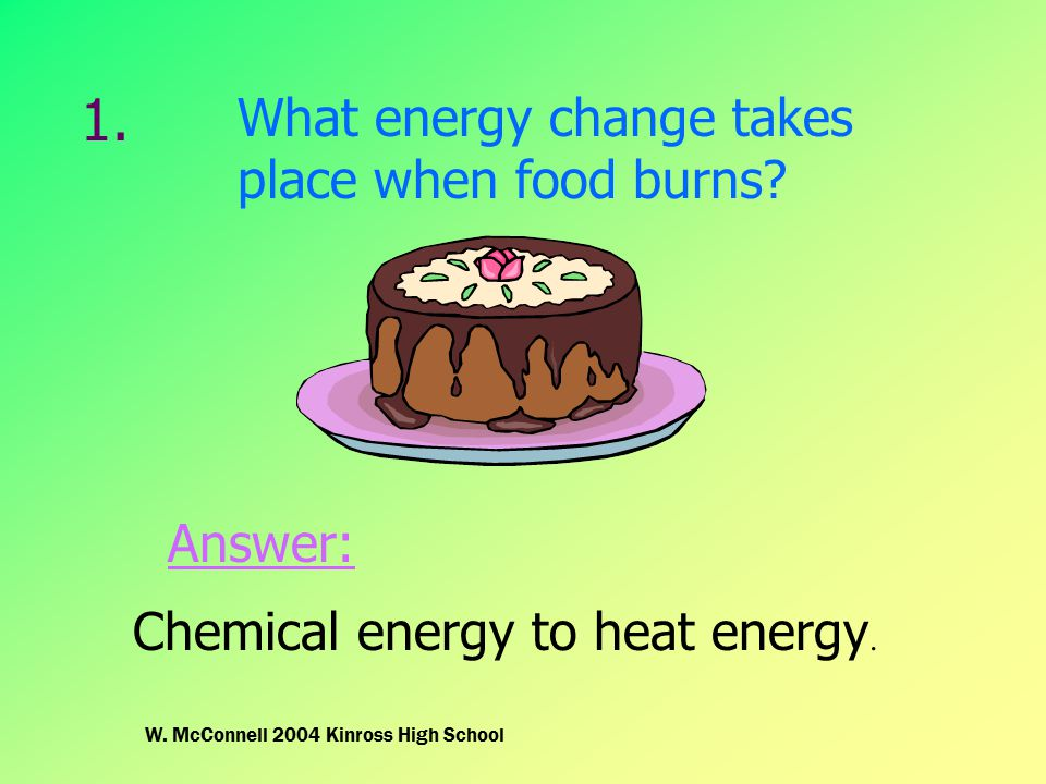 1. What energy change takes place when food burns? Chemical energy to heat energy. Answer: