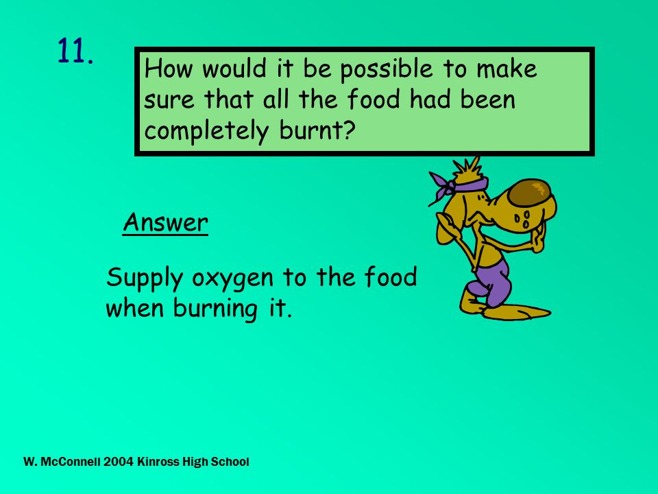 11.Answer How would it be possible to make sure that all the food had been completely burnt.