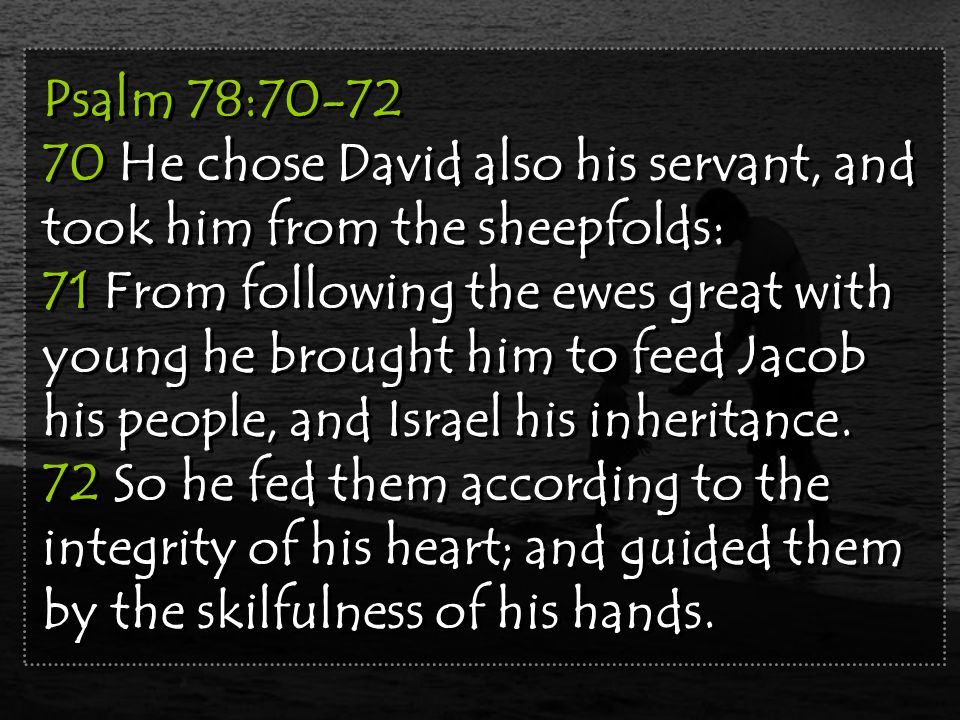 Psalm 78:70-72 70 He chose David also his servant, and took him from the sheepfolds: 71 From following the ewes great with young he brought him to feed Jacob his people, and Israel his inheritance.