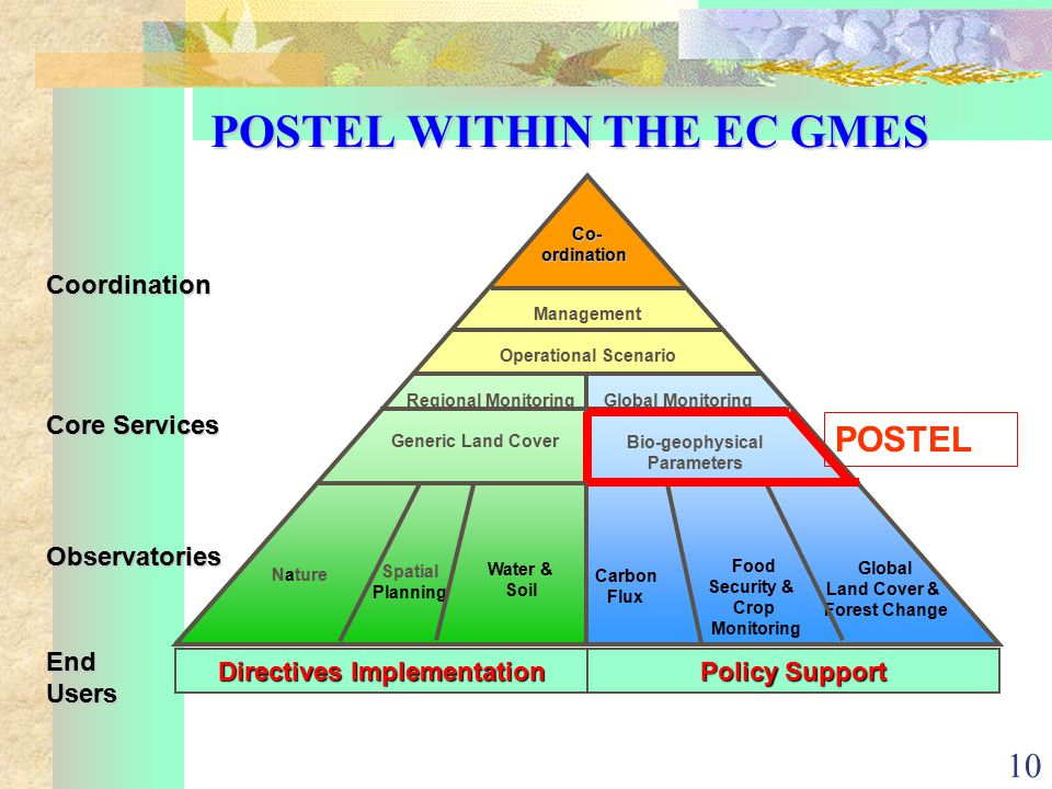 10 POSTEL WITHIN THE EC GMES Co-ordination Management Operational Scenario Nature Spatial Planning Water & Soil Carbon Flux Food Security & Crop Monitoring Global Land Cover & Forest Change Regional MonitoringGlobal Monitoring Generic Land Cover Bio-geophysical Parameters Directives Implementation Policy Support Core Services Observatories EndUsers Coordination POSTEL