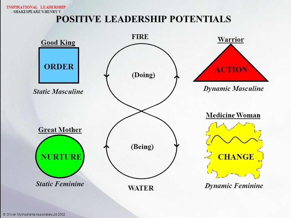 POSITIVE LEADERSHIP POTENTIALS ORDER Static Masculine Good King WATER FIRE NURTURE Static Feminine Great Mother ACTION Dynamic Masculine Warrior Medic