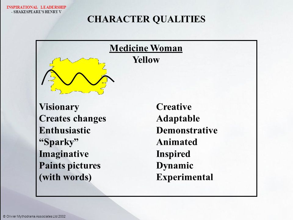 CHARACTER QUALITIES Medicine Woman Yellow VisionaryCreative Creates changesAdaptable EnthusiasticDemonstrative Sparky Animated ImaginativeInspired Paints picturesDynamic (with words)Experimental © Olivier Mythodrama Associates Ltd 2002 INSPIRATIONAL LEADERSHIP - SHAKESPEARE'S HENRY V
