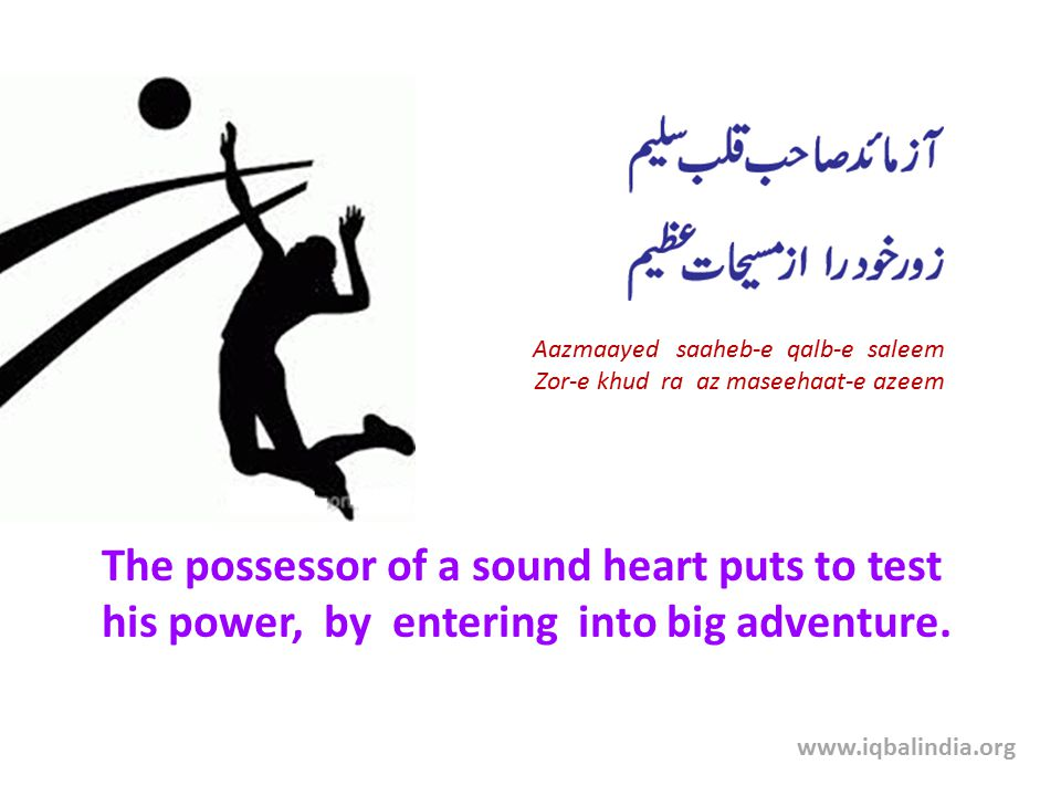 The possessor of a sound heart puts to test his power, by entering into big adventure. Aazmaayed saaheb-e qalb-e saleem Zor-e khud ra az maseehaat-e a