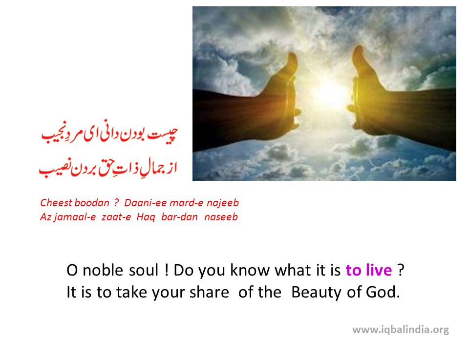 O noble soul . Do you know what it is to live . It is to take your share of the Beauty of God.