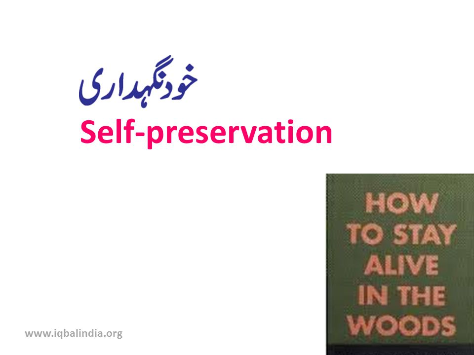 Self-preservation www.iqbalindia.org