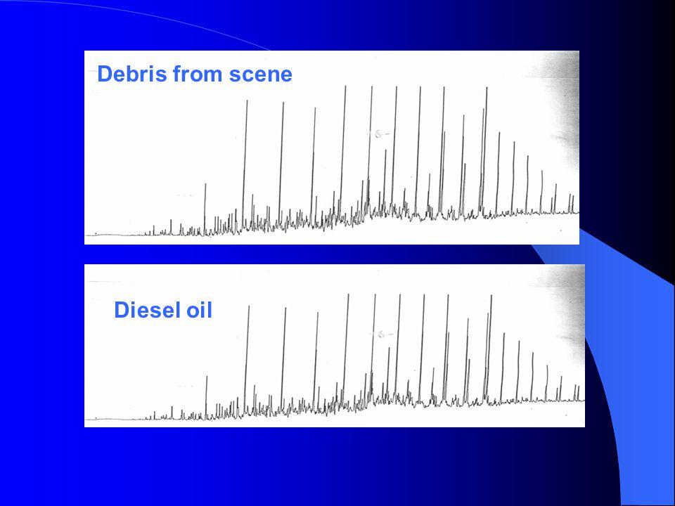 Diesel oil Debris from scene