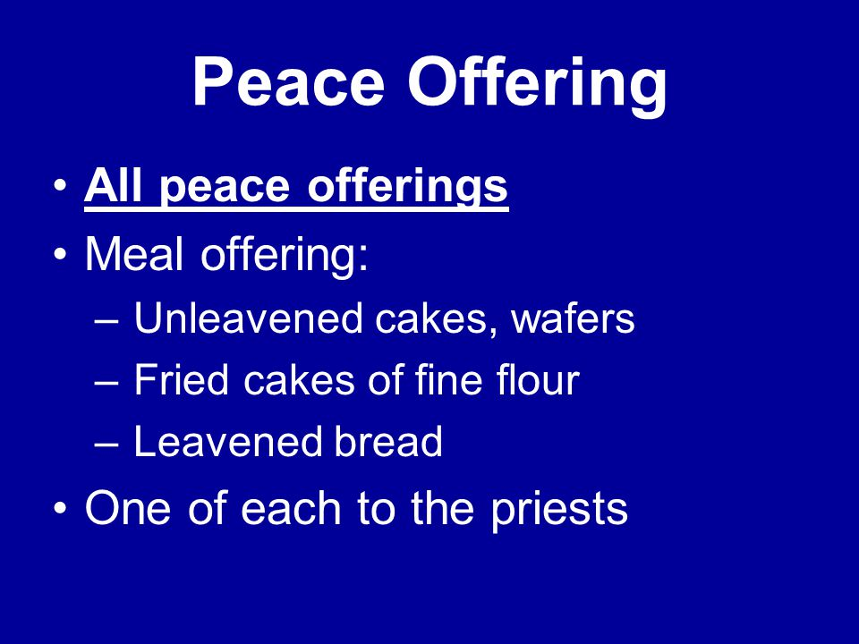 Peace Offering All peace offerings Meal offering: – Unleavened cakes, wafers – Fried cakes of fine flour – Leavened bread One of each to the priests