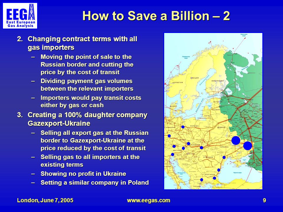 London, June 7, 2005www.eegas.com9 How to Save a Billion – 2 2.Changing contract terms with all gas importers –Moving the point of sale to the Russian