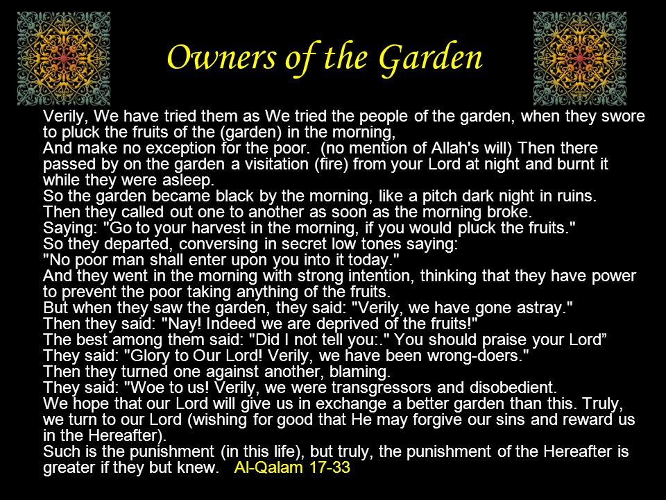 Owners of the Garden But when they saw the garden, they said: Verily, we have gone astray. Then they said: Nay.