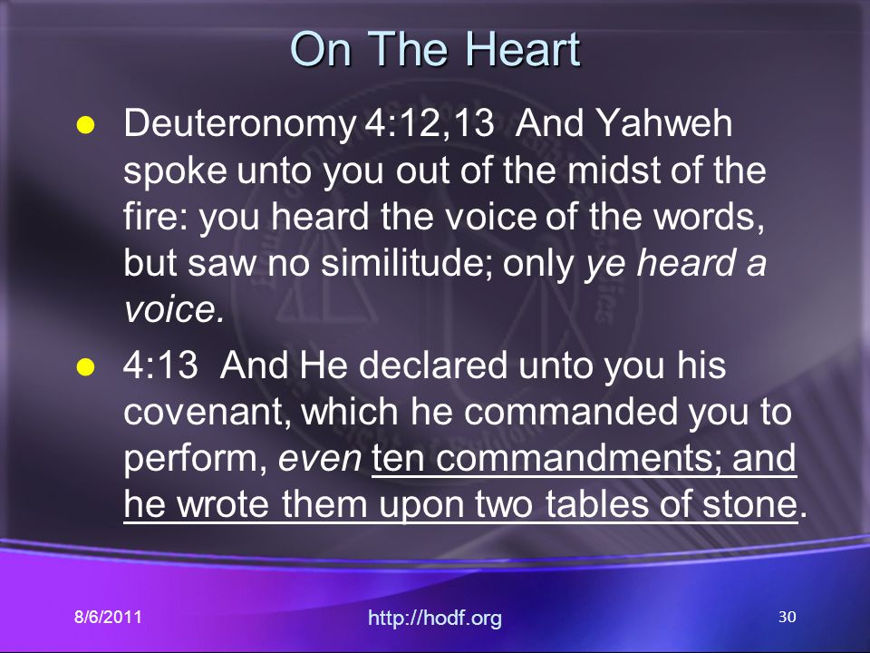 On The Heart Deuteronomy 4:12,13 And Yahweh spoke unto you out of the midst of the fire: you heard the voice of the words, but saw no similitude; only ye heard a voice.