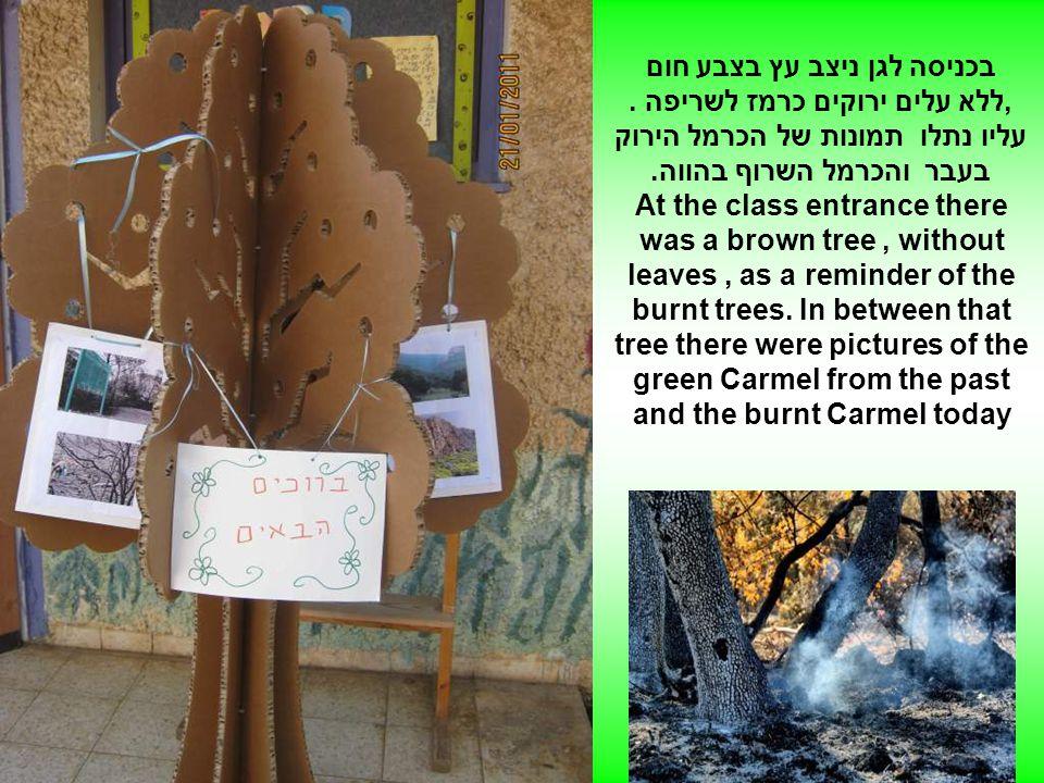 בכניסה לגן ניצב עץ בצבע חום,ללא עלים ירוקים כרמז לשריפה.