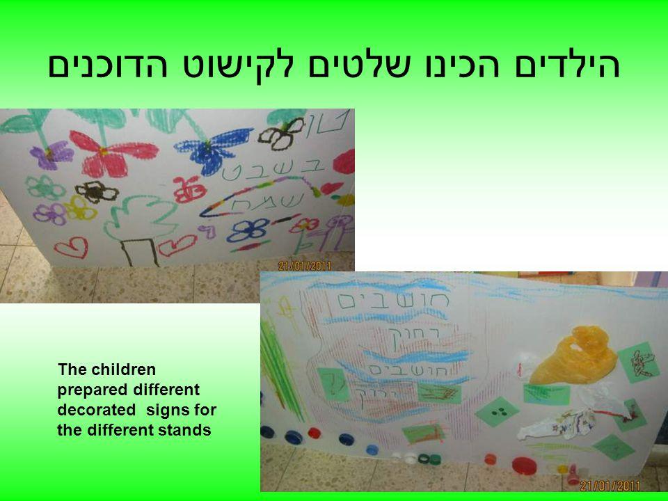 הילדים הכינו שלטים לקישוט הדוכנים The children prepared different decorated signs for the different stands