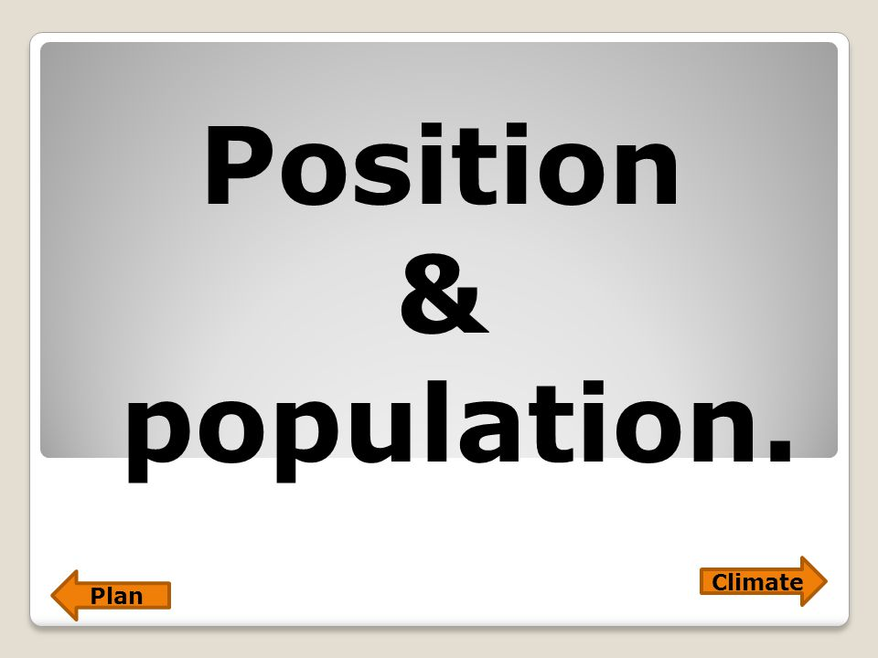 Position & population. Plan Climate