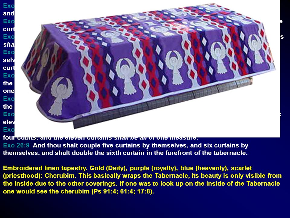 Exo 26:1 Moreover thou shalt make the tabernacle with ten curtains of fine twined linen, and blue, and purple, and scarlet: with cherubims of cunning