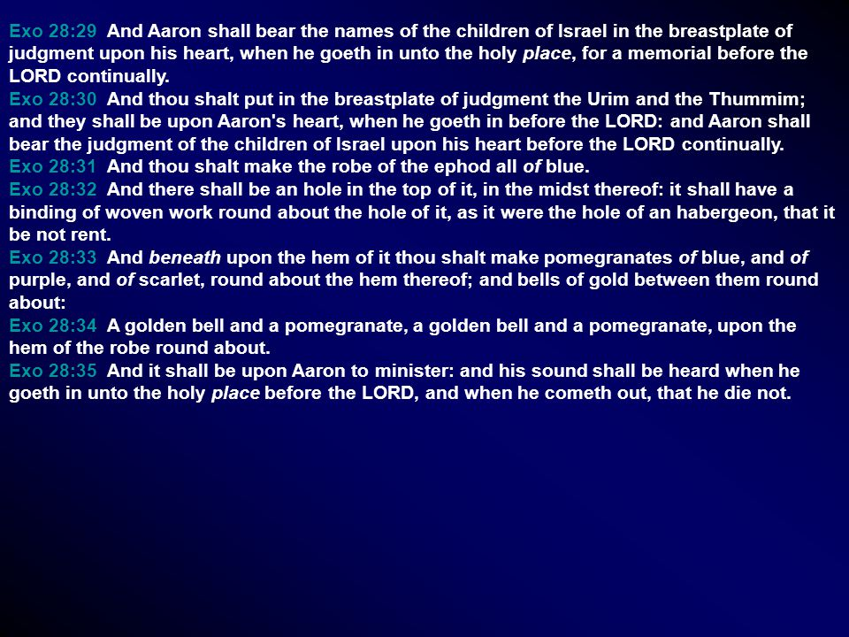 Exo 28:29 And Aaron shall bear the names of the children of Israel in the breastplate of judgment upon his heart, when he goeth in unto the holy place