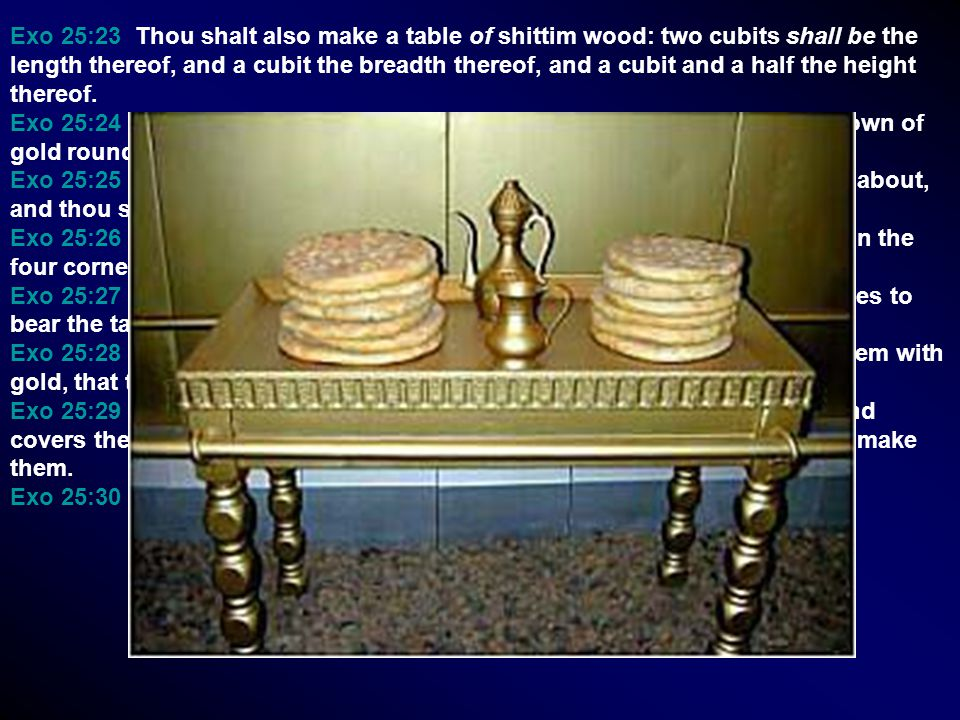 Exo 25:23 Thou shalt also make a table of shittim wood: two cubits shall be the length thereof, and a cubit the breadth thereof, and a cubit and a hal