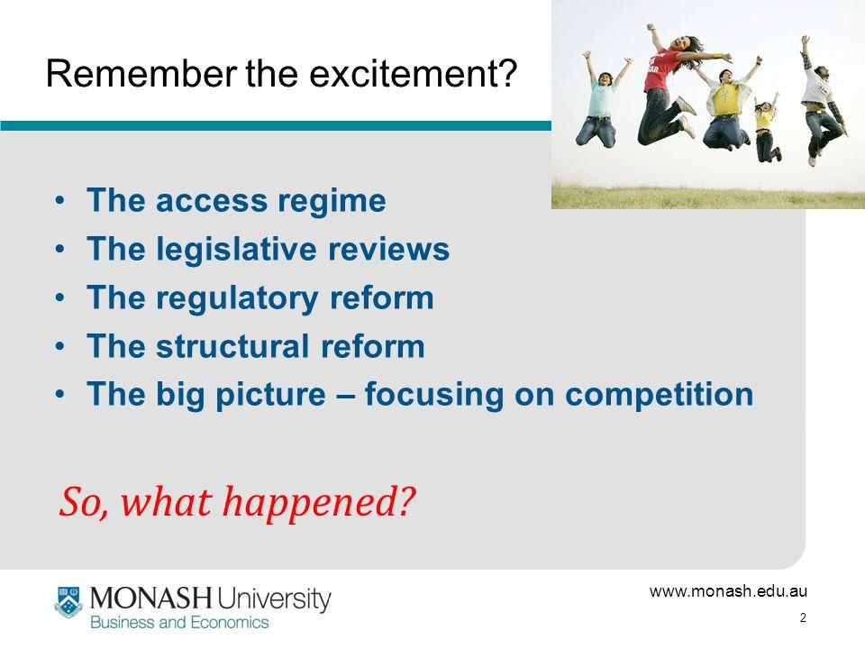 www.monash.edu.au 2 Remember the excitement? The access regime The legislative reviews The regulatory reform The structural reform The big picture – f