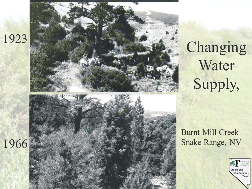 1923 1966 Changing Water Supply, Burnt Mill Creek Snake Range, NV