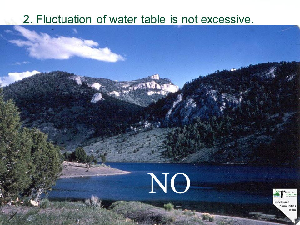 2. Fluctuation of water table is not excessive. NO
