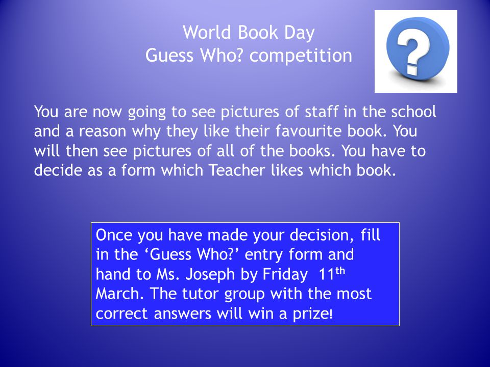 World Book Day Guess Who.