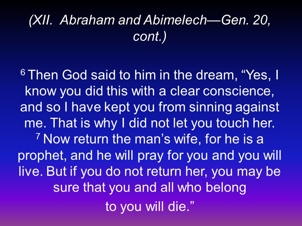 (XII. Abraham and Abimelech—Gen.